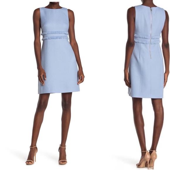 Eliza J Fringe Sheath dress Periwinkle blue 4P New